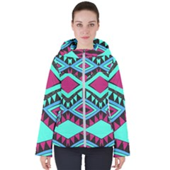 Ovals And Rhombus                                         Women s Hooded Puffer Jacket
