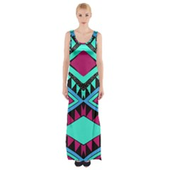 Ovals And Rhombus                                          Maxi Thigh Split Dress by LalyLauraFLM
