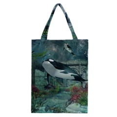 Wonderful Orca In Deep Underwater World Classic Tote Bag by FantasyWorld7