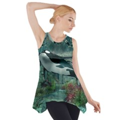 Wonderful Orca In Deep Underwater World Side Drop Tank Tunic by FantasyWorld7