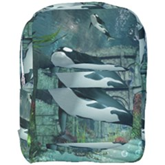 Wonderful Orca In Deep Underwater World Full Print Backpack by FantasyWorld7