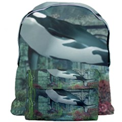 Wonderful Orca In Deep Underwater World Giant Full Print Backpack by FantasyWorld7