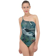 Wonderful Orca In Deep Underwater World Classic One Shoulder Swimsuit