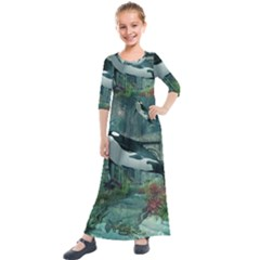 Wonderful Orca In Deep Underwater World Kids  Quarter Sleeve Maxi Dress