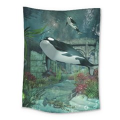 Wonderful Orca In Deep Underwater World Medium Tapestry by FantasyWorld7