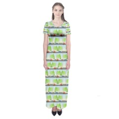 Cars And Trees Pattern Short Sleeve Maxi Dress by linceazul