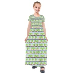 Cars And Trees Pattern Kids  Short Sleeve Maxi Dress by linceazul
