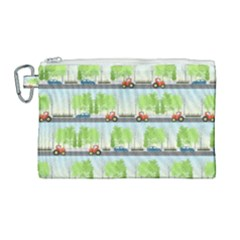 Cars And Trees Pattern Canvas Cosmetic Bag (large) by linceazul
