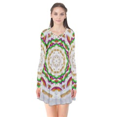 Fauna In Bohemian Midsummer Style Long Sleeve V Neck Flare Dress by pepitasart