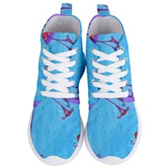 Hearts And Blue Women s Lightweight High Top Sneakers