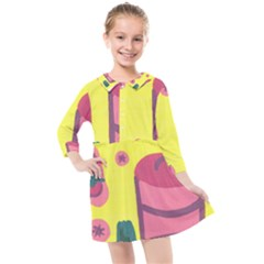 Candy Pink Hat Kids  Quarter Sleeve Shirt Dress