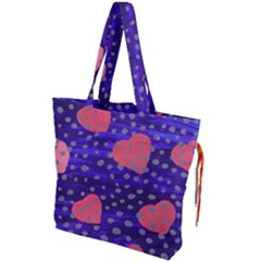 Underwater Pink Hearts Drawstring Tote Bag