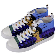 Girl By The Sea Women s Mid Top Canvas Sneakers by snowwhitegirl