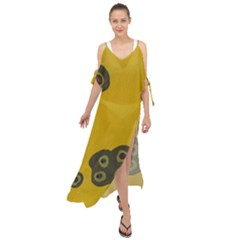 Peas Four Leaf Clover Maxi Chiffon Cover Up Dress by snowwhitegirl