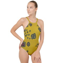 Peas Four Leaf Clover High Neck One Piece Swimsuit