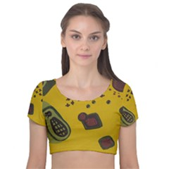 Hairdryer Easter Egg Velvet Short Sleeve Crop Top
