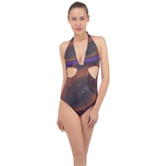 The Black Whole Egg Halter Front Plunge Swimsuit