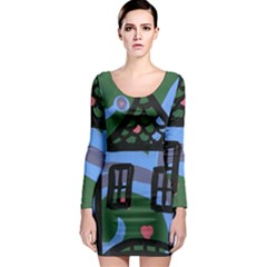 Smiling House Long Sleeve Bodycon Dress