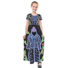 Dress And Flowers Kids  Short Sleeve Maxi Dress