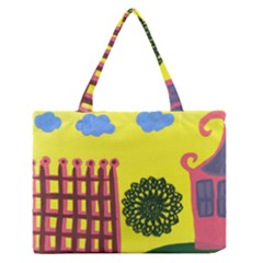 Pink House And Fence Zipper Medium Tote Bag by snowwhitegirl