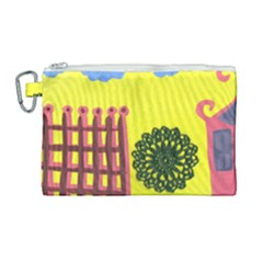 Pink House And Fence Canvas Cosmetic Bag (large) by snowwhitegirl