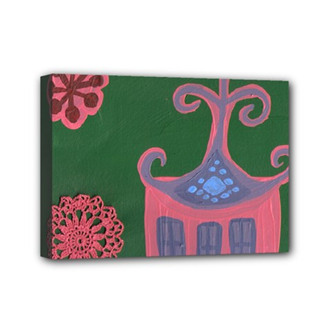 The Biggest Pink House Mini Canvas 7  X 5