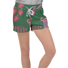 Floating Strawberries Women s Velour Lounge Shorts