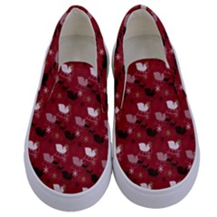 Snow Sleigh Deer Red Kids  Canvas Slip Ons