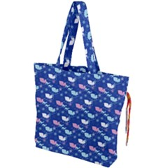 Snow Sleigh Deer Blue Drawstring Tote Bag by snowwhitegirl