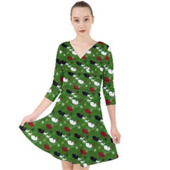 Snow Sleigh Deer Green Quarter Sleeve Front Wrap Dress by snowwhitegirl