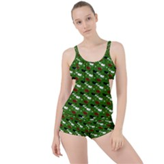 Snow Sleigh Deer Green Boyleg Tankini Set