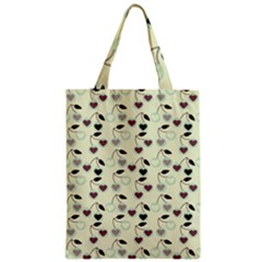Heart Cherries Mint Zipper Classic Tote Bag by snowwhitegirl