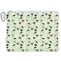Heart Cherries Mint Canvas Cosmetic Bag (xxl) by snowwhitegirl
