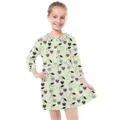 Heart Cherries Mint Kids  Quarter Sleeve Shirt Dress by snowwhitegirl