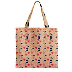 Heart Cherries Cream Zipper Grocery Tote Bag by snowwhitegirl