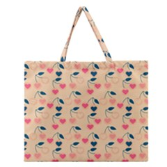 Heart Cherries Cream Zipper Large Tote Bag by snowwhitegirl