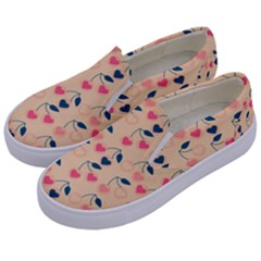 Heart Cherries Cream Kids  Canvas Slip Ons by snowwhitegirl