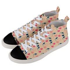 Heart Cherries Cream Men s Mid Top Canvas Sneakers by snowwhitegirl