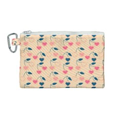 Heart Cherries Cream Canvas Cosmetic Bag (medium) by snowwhitegirl