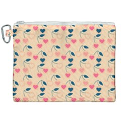 Heart Cherries Cream Canvas Cosmetic Bag (xxl) by snowwhitegirl