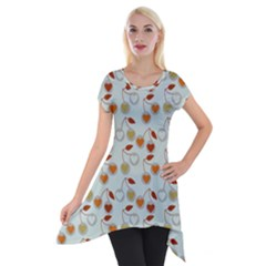 Heart Cherries Grey Short Sleeve Side Drop Tunic