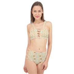 Beige Heart Cherries Cage Up Bikini Set