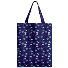 Heart Cherries Blue Zipper Classic Tote Bag by snowwhitegirl