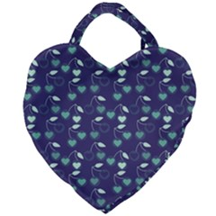 Heart Cherries Blue Giant Heart Shaped Tote by snowwhitegirl