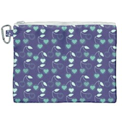 Heart Cherries Blue Canvas Cosmetic Bag (xxl) by snowwhitegirl