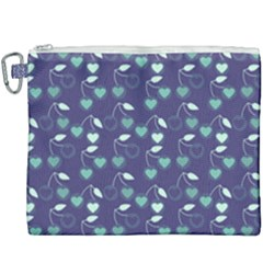 Heart Cherries Blue Canvas Cosmetic Bag (xxxl)