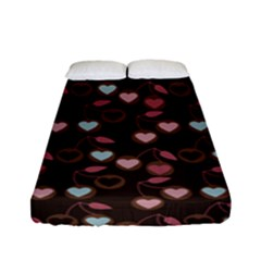Heart Cherries Brown Fitted Sheet (full/ Double Size)