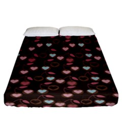 Heart Cherries Brown Fitted Sheet (california King Size) by snowwhitegirl