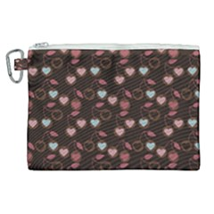 Heart Cherries Brown Canvas Cosmetic Bag (xl) by snowwhitegirl