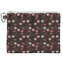 Heart Cherries Brown Canvas Cosmetic Bag (xxl) by snowwhitegirl